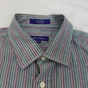Alan Flusser Casual Shirt Mens XXL Herringbone